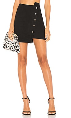 Button Up Asymmetric Hem Skirt
