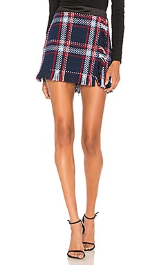 Fringed Mini Skirt In Navy Plaid J.O.A. $68