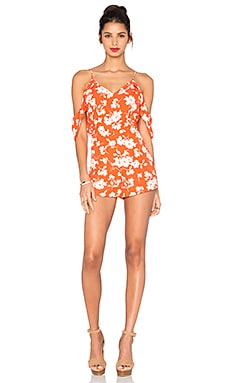 Open Shoulder V Neck Floral Romper in Orange Floral