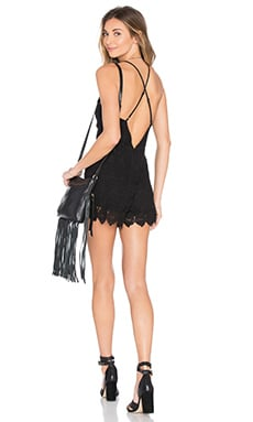J.O.A. Sleeveless Lace Romper in Black