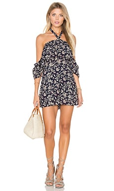 J.O.A. Off The Shoulder Ruffle Romper in Vintage Navy Floral