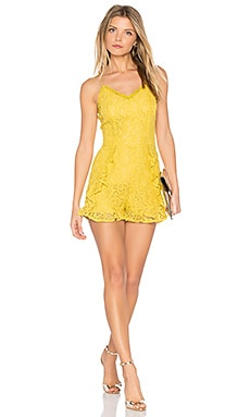 Frill Bottom Detail Lace Romper en Jaune