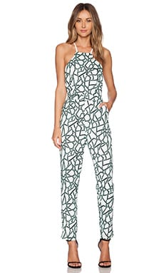 Cross Back Print Jumpsuit en Hierbabuena