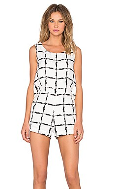 J.O.A. Box Checkered Romper in Ivory