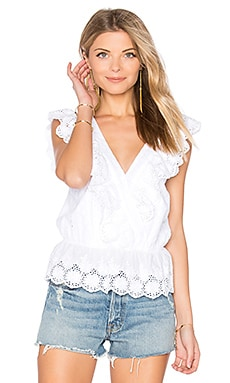 V Neck Eyelet Top in White