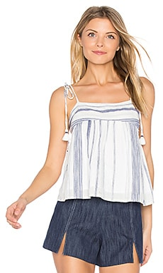 Stripe Tie Shoulder Top en Rayé Marine & Blanc