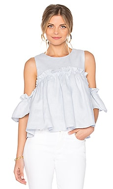 Layered Ruffle Cold Shoulder Top in Light Blue