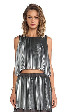 J.O.A. Sleeveless Pleated Top in Grey