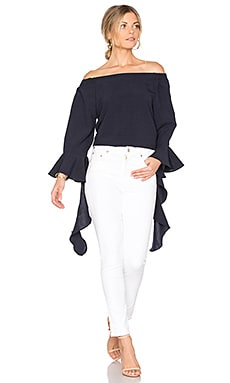 Off The Shoulder Flare Sleeve Top en Marine