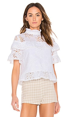 Ruffle Neck Lace Mix Top