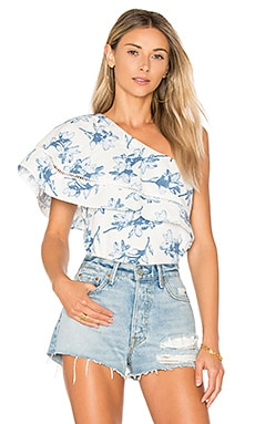 Flower Print One Shoulder Top en Carreaux bleu