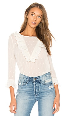 Ruffle Neck Embroidered Top
