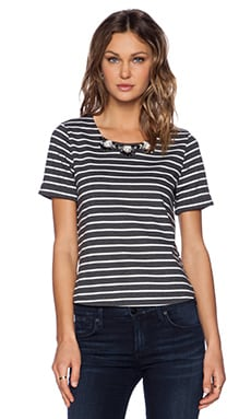 J.O.A. Striped Embellished Top in Charcoal