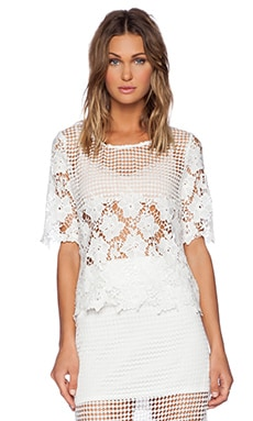 J.O.A. Lace Short Sleeve Top in White
