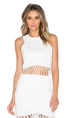 J.O.A. Sleeveless Fringe Crop Top in Off White