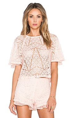 J.O.A. Lace Top in Blush Pink