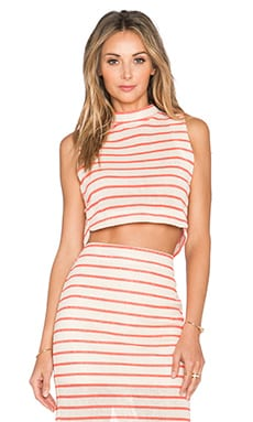J.O.A. Striped Open Back Crop Top in Khaki & Neon Orange