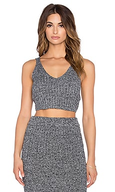 J.O.A. Knit Deep V Tank in Charcoal