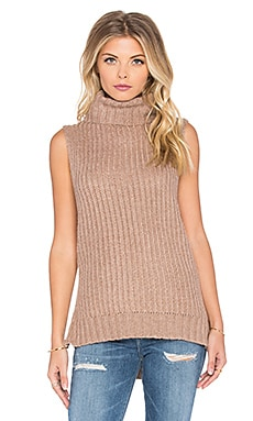 J.O.A. Side Slit Turtleneck Top in Khaki