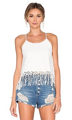 J.O.A. Fringe Tank in White