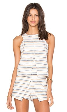 Sleeveless Stripe Top en Coral Multi