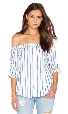 Off The Shoulder Long Sleeve Top in White & Blue