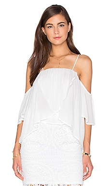 Short Sleeve Open Shoulder Blouse in White