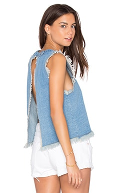 Chambray Frayed Tank in Blue