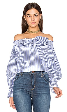 Off Shoulder Stripe Top in Navy & White