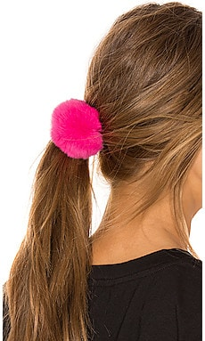 Rex Rabbit Fur Pom Pom Hair Tie jocelyn $10