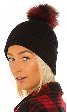 Multi Fox Fur Pom Knit Hat jocelyn $125
