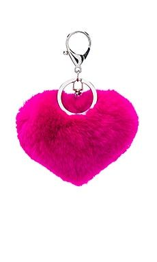 jocelyn Rex Rabbit Heart Keychain in Fuchsia