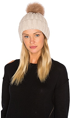 Dyed Blue Fox Pom Knit Hat in Ivory