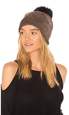 Metallic Hat With Fox Pom