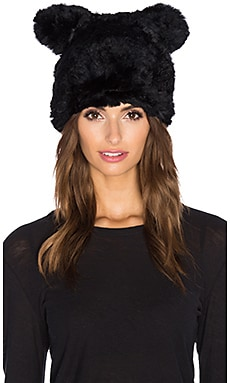 jocelyn Sheared Rabbit Fur Hat in Black
