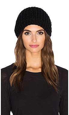 jocelyn Rabbit Fur Pom Beanie in Black