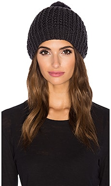 jocelyn Rabbit Fur Pom Beanie in Dark Grey