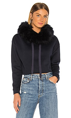 Faux Fox Hood Trim Cropped Sweatshirt jocelyn $235 NEW ARRIVAL