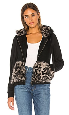 Longhair Rabbit Fur Section Zip Up Hoodie jocelyn $74