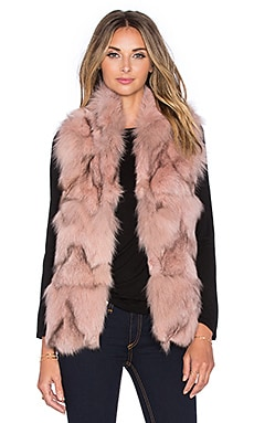 jocelyn Stand Collar Fox Fur Vest in Powder