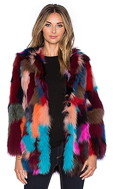 jocelyn Dyed Fox Belly Fur Jacket in Multi
