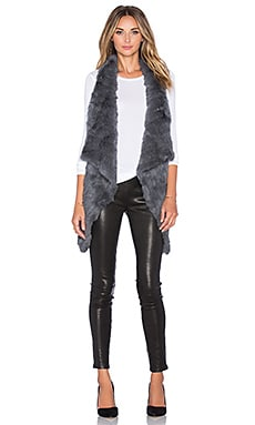 jocelyn Rabbit Fur Asymmetrical Vest in Grey