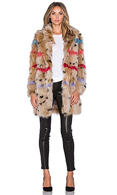 jocelyn Color Insert Fox Belly Fur Coat in Animal