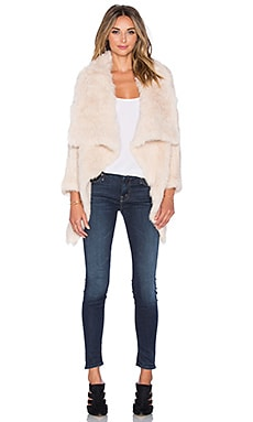 jocelyn Rabbit Fur Asymmetrical Jacket in Sand