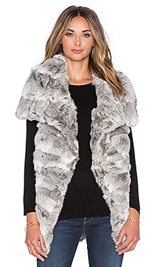 jocelyn Wing Collar Long Hair Rabbit Fur Vest in Natural Grey