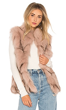 Fox Fur Sections Vest With Collar