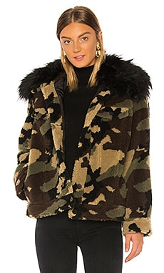 Faux Silver Fox Detachable Collar Camo Teddy Jacket jocelyn $295 NEW ARRIVAL