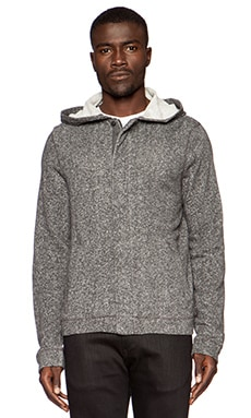 Joe's Jeans Chevron Heather Terry Bomber Hoody in Heather Charcoal