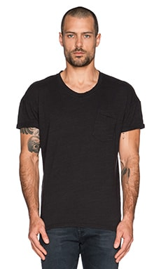 Joe's Jeans Arrie Crew Notch Tee Solid Slub Jersey in Jet Black