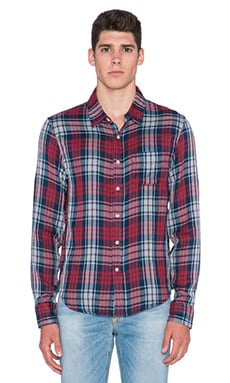Joe's Jeans Slim Fit Single Pocket Double Woven Plaid in Red Navy Plaid